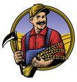 traditional hand drawing style of farmer vector image vector image