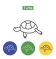 turtle line icon vector image vector image