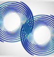 two blue circles made lines white vector image vector image