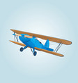 vintage blue biplane in the sky vector image vector image