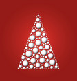 white christmas tree of white 3d snowballs on red vector image