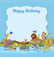 wild animal on birthday template vector image vector image