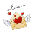 winged mail love envelope with heart and vector image vector image