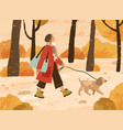 young woman in trendy warm outwear walking dog in vector image vector image