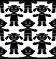 children seamless silhouette vector image