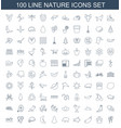 100 nature icons vector image vector image