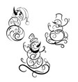 beautyfull snowman hand drawn line vector image vector image