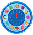blue underwater clock template vector image