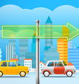 Cityscape with the glass board City trafic Direct vector image vector image