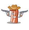 cowboy bacon character cartoon style vector image vector image