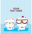 cute cat couple vector image vector image