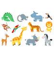 cute jungle animal cartoon african animals vector image vector image
