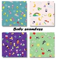 Cute Newborn seamless patterns vector image vector image