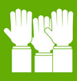 different people hands raised up icon green vector image vector image