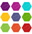 double bed icons set 9 vector image vector image