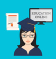 education online with girl computer screen and vector image vector image