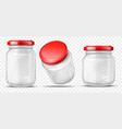 empty glass jars for sauces realistic vector image vector image