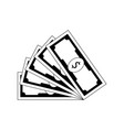 fan banknote dollar black white vector image vector image