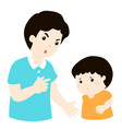 father scolds his son cartoon character vector image vector image
