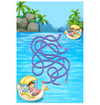 Game template with children riding boats vector image vector image