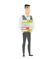 groom holding pile of folders vector image vector image