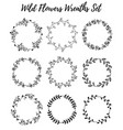 hand drawn wreath set of design leaves vector image vector image