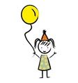 Happy girl with balloon drawn isolated icon design vector image vector image