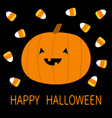 happy halloween candy corn pumpkin with face cute vector image