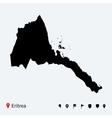 high detailed map eritrea with navigation pins vector image vector image