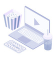 isometric laptop movie soda popcorn ticket vector image vector image