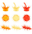 juice splashes 3d photo realistic set vector image vector image