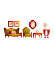 living room interior in classic victorian style vector image vector image