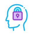 locked padlock in man silhouette mind icon vector image