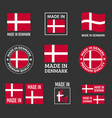 made in denmark labels set made in kingdom of vector image vector image