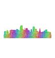 Miami skyline silhouette - multicolor line art vector image vector image