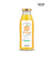 orange juice realistic glass bottle with label vector image