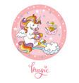 rainbow cartoon unicorn pink circle vector image
