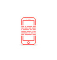 red thin line phone like ebook or messaging vector image vector image