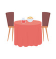 restaurant table with food and drink isolated vector image vector image
