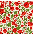 Retro red poppies seamless pattern vector image