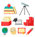 school set icons in cartoon style big collection vector image
