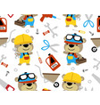 seamless pattern with liitle bear cartoon builder vector image