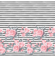 seamless pattern with pink roses border on white vector image vector image