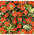 seamless red floral ornament on dark background vector image