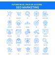 seo marketing icons - futuro blue 25 icon pack vector image