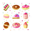 set of cute cartoon sweet cakes and donuts vector image