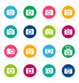set of photo icons on color background vector image