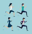 set women and men people running vector image