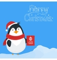 Snow landscape background with penguin vector image vector image