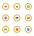 trendy speech bubble icons set cartoon style vector image